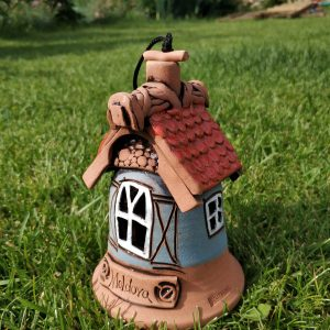 Pottery souvenir Medium white window and red roof bell